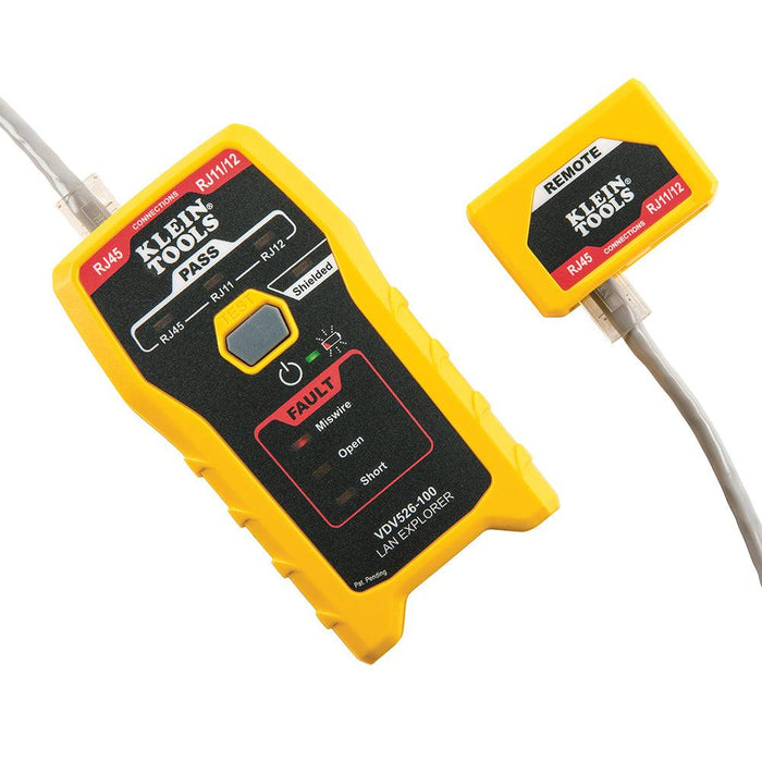 Single button testing of RJ11, RJ12 and RJ45 terminated voice and data cables, Tests CAT3, CAT5e and CAT6/6A cables. This simple, compact data cable tester for RJ11, RJ12 and RJ45 terminated voice and data cables for Miswires, Open-Faults, Short-Faults and Shield. Instant LED responses indicate cable status. SKU: KLEVDV526100 UPC: 092644692246