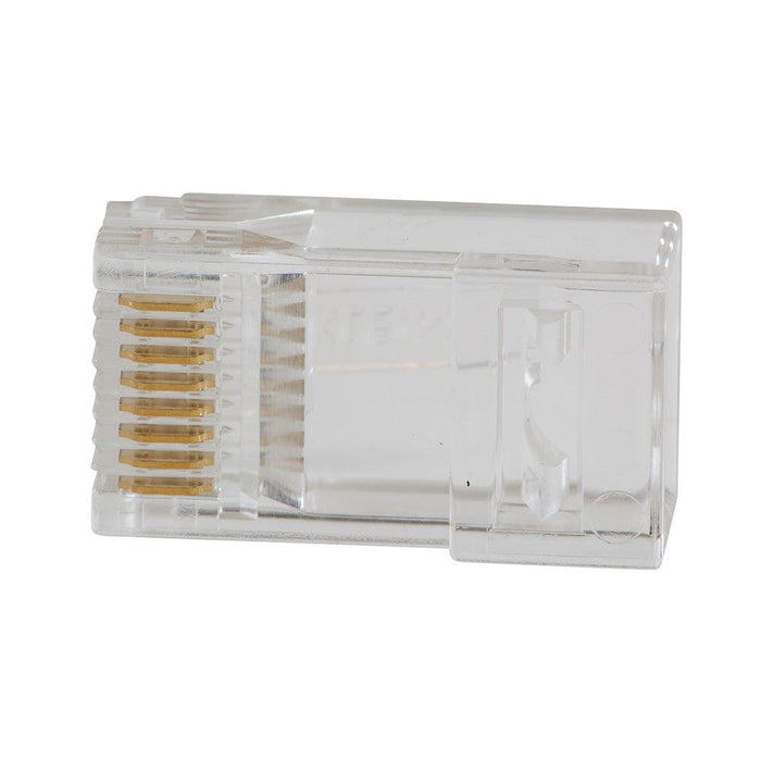 Klein-designed Pass-Thrumodular plugs for fast, reliable connector installations for data applications. Cable easily passes through connector for consistent and secure termination. Saves time, trims flush to end face when used with Klein Tools Pass-Thru Modular Crimper VDV226-110, and eliminates wasted materials. These CAT6 connectors are fully compliant with all PoE standards.   SKU: KLEVDV826729  UPC: 092644690921