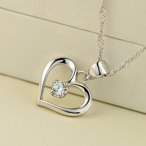 Sterling Silver Cubic Zirconia CZ Hollow Heart Pendant Necklace