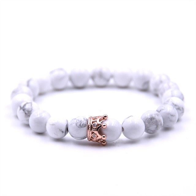 Crown Couple Bracelet Charms Stone Beads