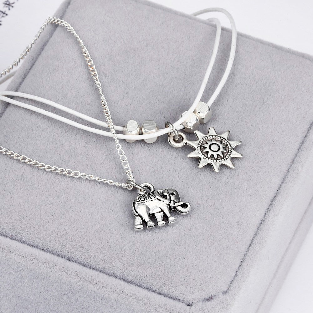 Vintage Elephant Sun Pendant Charms Rope Chain Beach Summer Foot Ankle Bracelet