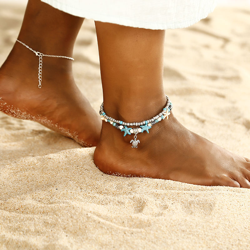 Bohemian style layered ankle bracelet