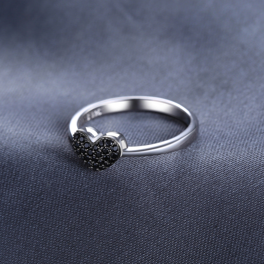 Natural Black Spinel Love Heart Ring