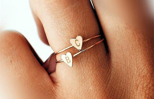 Gold/Silver Color Heart Letter Ring