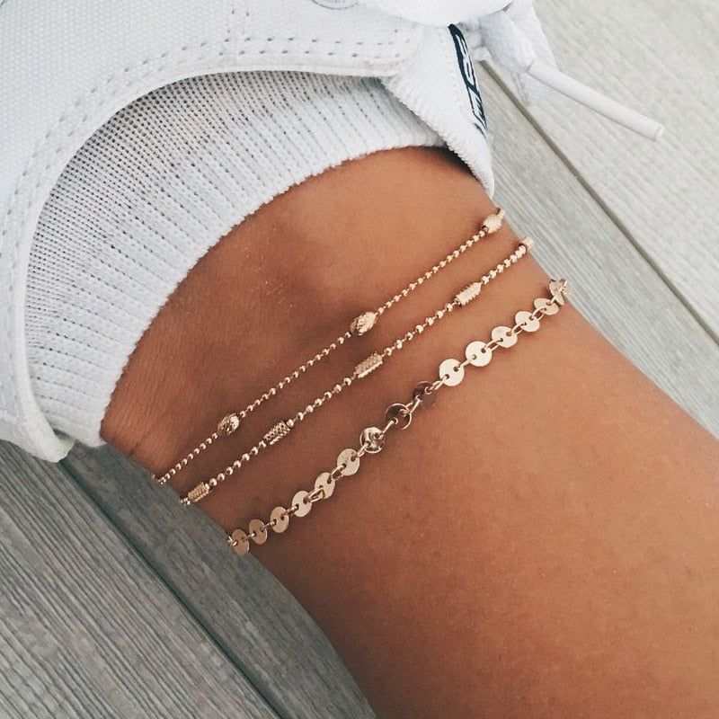 Bohemian alloy multi-layer gold and silver 3 piece anklet set