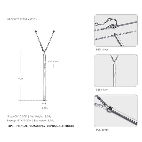 Line Needle Sterling Silver Long Pendant Necklace