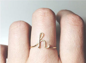 Dainty Initial Ring A to Z Letter Midi Personalized Ring