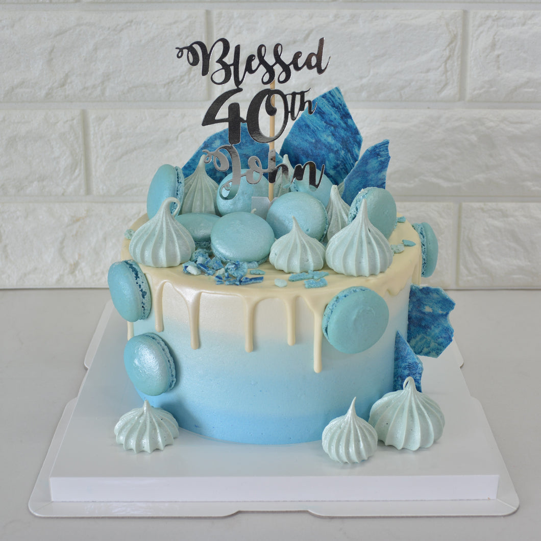 Freestyle Glacier Blue Drip Cake (Money Pulling Option Available) - Bakers' Boulevard Sg