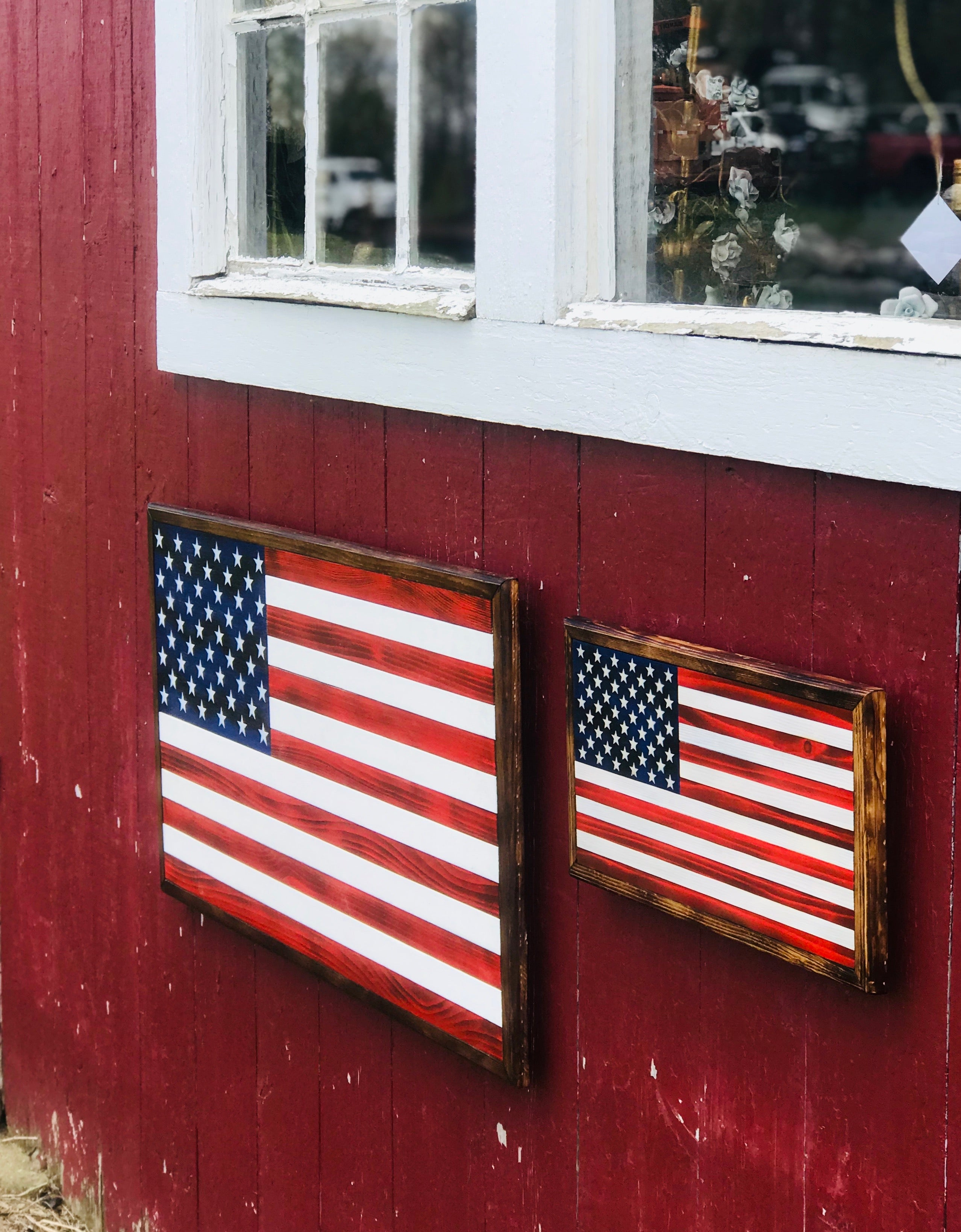 Traditional Red & White Stained Rustic Flag