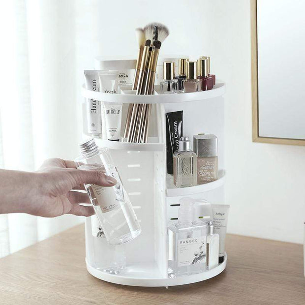 360 Rotating Makeup Organizer White 360 Rotating Makeup Organizer trendpicky