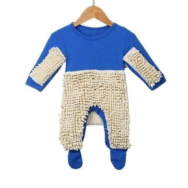 Adorably Funny Baby Romper Mop Blue / 6M Kid's Clothing trendpicky