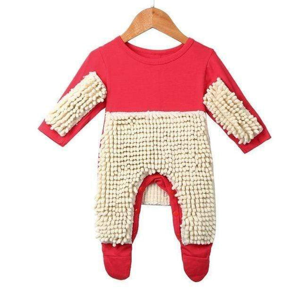 Adorably Funny Baby Romper Mop Red / 6M Kid's Clothing trendpicky
