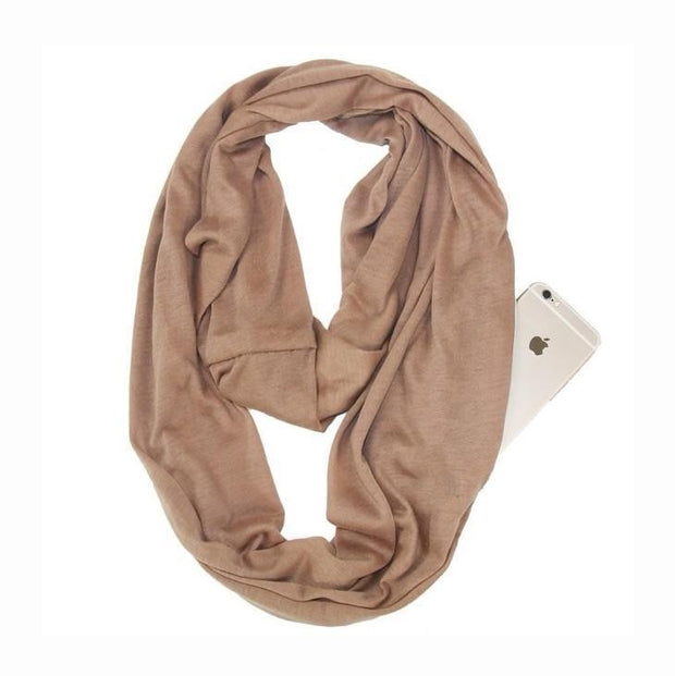 Anti Theft Scarf with Pocket Beige Multi-Way Infinity Scarf with Pocket trendpicky