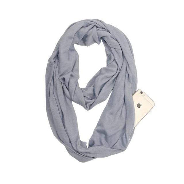 Anti Theft Scarf with Pocket Gray Multi-Way Infinity Scarf with Pocket trendpicky