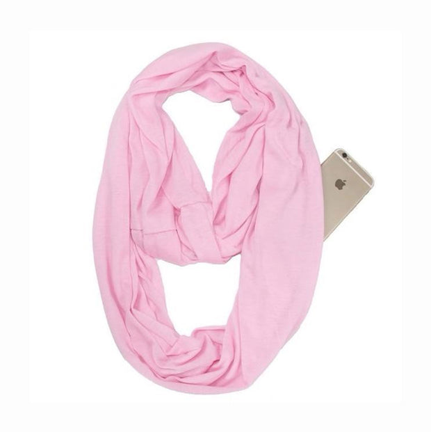 Anti Theft Scarf with Pocket Pink Multi-Way Infinity Scarf with Pocket trendpicky