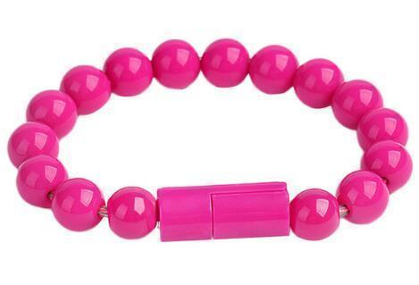 Beaded Charging Bracelet iPhone / Hot Pink Beaded Charging Bracelet trendpicky