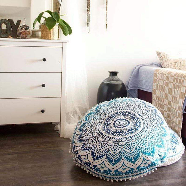 Boho Floor Pillow Cover White & Blue Cushions trendpicky