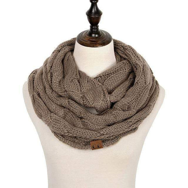 Cable Knit Infinity Scarf Brown Cable Knit Infinity Scarf trendpicky