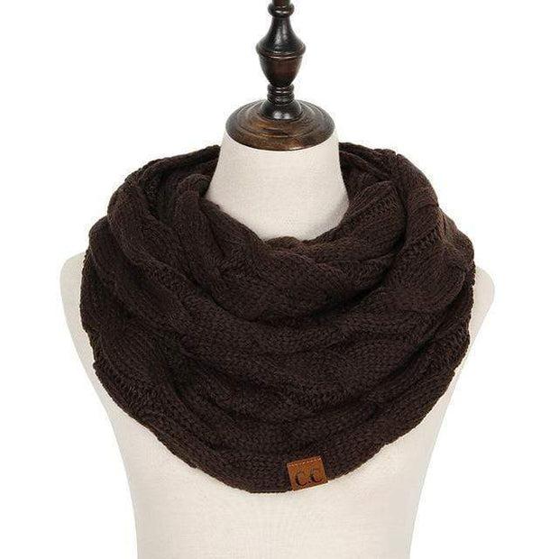Cable Knit Infinity Scarf Dark Brown Cable Knit Infinity Scarf trendpicky