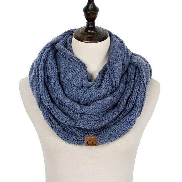Cable Knit Infinity Scarf Denim Cable Knit Infinity Scarf trendpicky