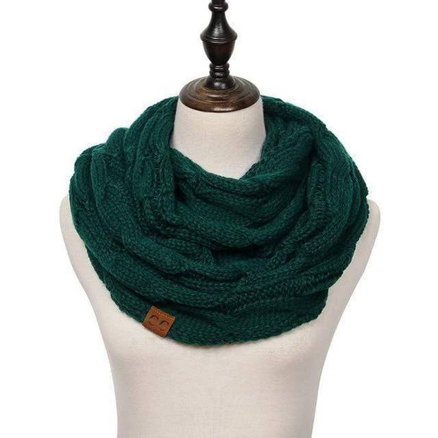 Cable Knit Infinity Scarf Forest Green Cable Knit Infinity Scarf trendpicky
