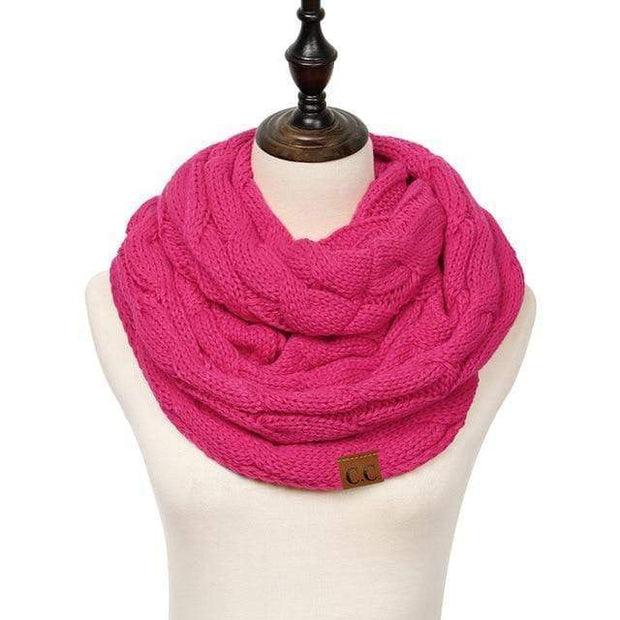Cable Knit Infinity Scarf Hot Pink Cable Knit Infinity Scarf trendpicky