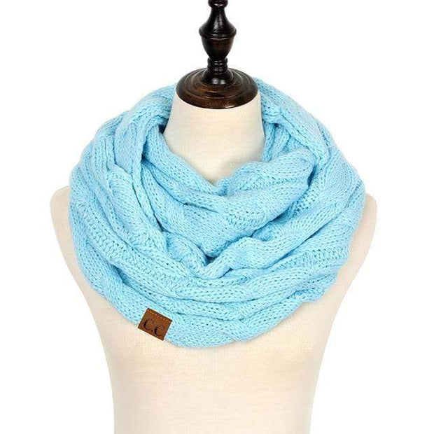 Cable Knit Infinity Scarf Light Blue Cable Knit Infinity Scarf trendpicky