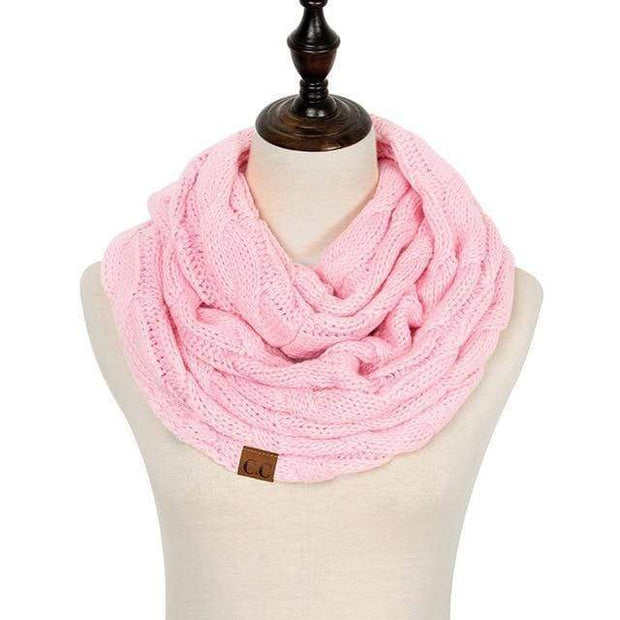 Cable Knit Infinity Scarf Light Pink Cable Knit Infinity Scarf trendpicky