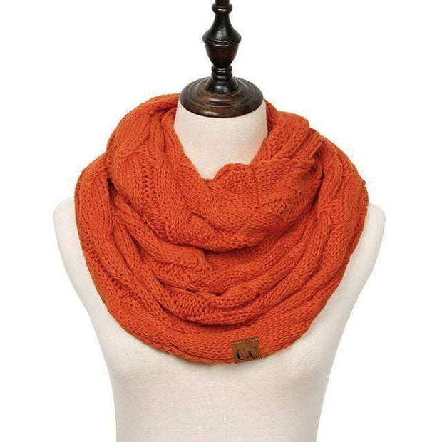 Cable Knit Infinity Scarf Orange Cable Knit Infinity Scarf trendpicky