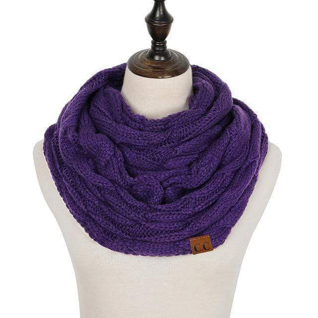 Cable Knit Infinity Scarf Purple Cable Knit Infinity Scarf trendpicky
