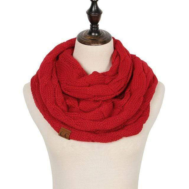 Cable Knit Infinity Scarf Red Cable Knit Infinity Scarf trendpicky