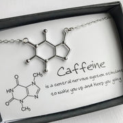 Caffeine Molecule Necklace Silver Plated Caffeine Molecule Necklace trendpicky