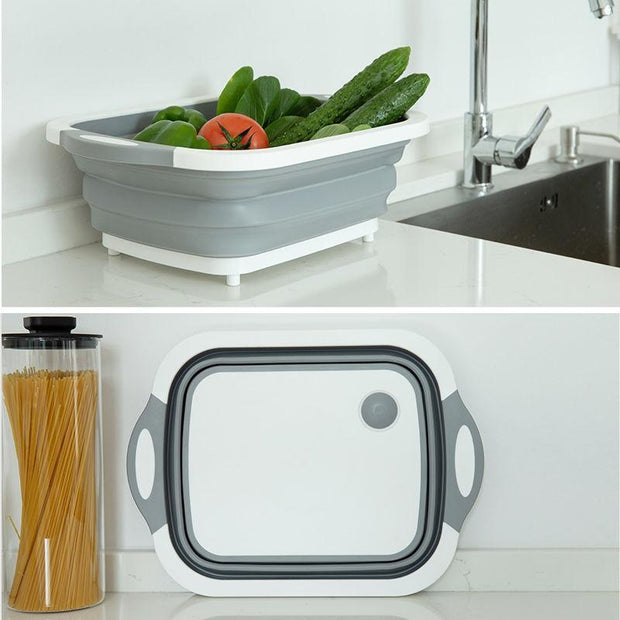 Collapsible Storage Chopping Board Grey Collapsible Storage Chopping Board trendpicky