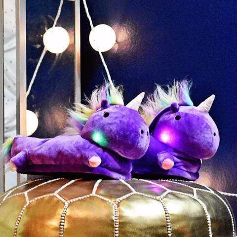 Comfy Magical Unicorn Slippers Magical Color-Changing LED / Purple Unicorn Slippers trendpicky
