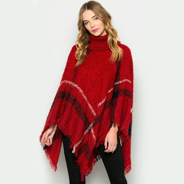 Cozy Poncho Sweater Red Sweater trendpicky