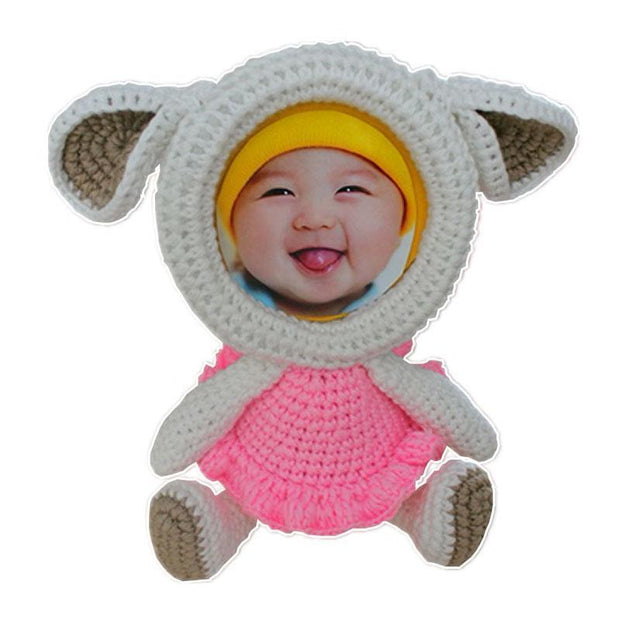 Crochet Animals Photo Frame Sheep Knitted Animals Photo Frame trendpicky