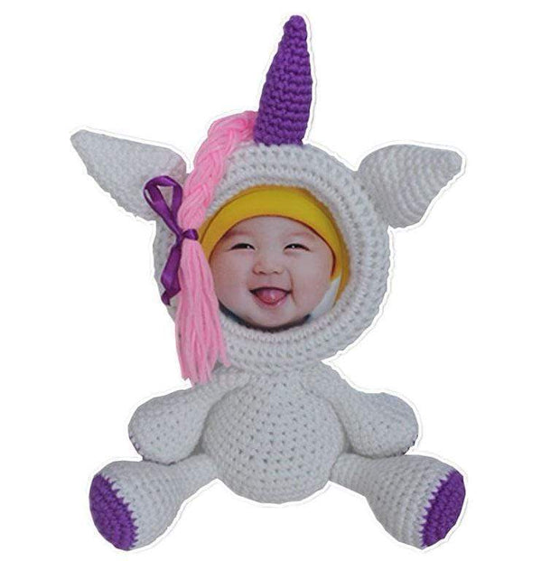 Crochet Animals Photo Frame Unicorn Knitted Animals Photo Frame trendpicky