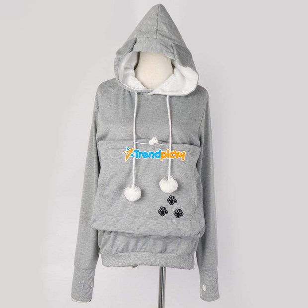 Cuddly Kangaroo Pet Lover Hoodie M / Gray Pets trendpicky