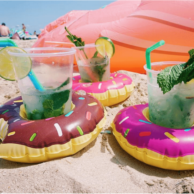 Cute Pool/Beach Cup Holders Purple Frosted Donut Cup Holders trendpicky
