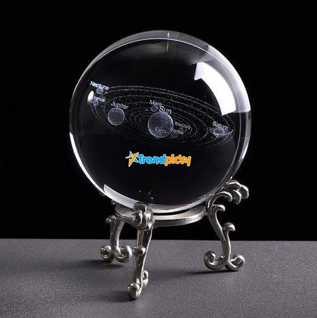 Engraved Solar System Sphere Silver Base Engraved Solar System Sphere trendpicky