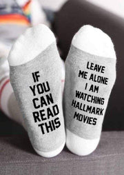 Hallmark Movies Socks Gray & White Leave Me Alone I Am Watching Hallmark Movies Socks trendpicky