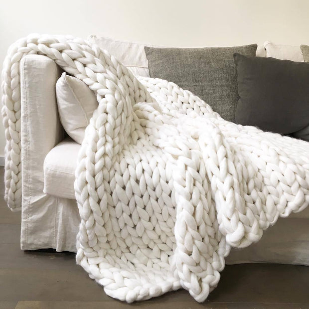 Handmade Chunky Knit Blanket 40x47 Inches / White Home & Kitchen trendpicky