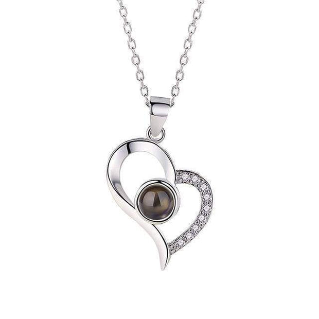 Hidden Message Lovers Necklace Double Edge Heart Silver Hidden Message Lovers Necklace trendpicky