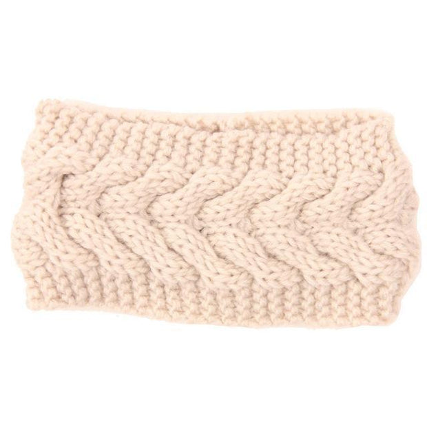 Knitted Ear Warmer Headwrap Beige Clothes trendpicky
