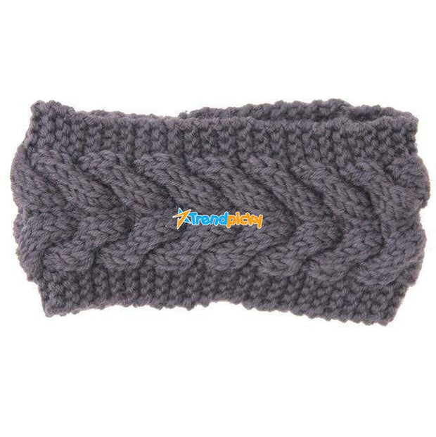Knitted Ear Warmer Headwrap Dark Gray Clothes trendpicky