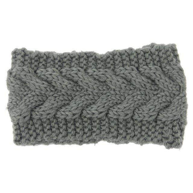 Knitted Ear Warmer Headwrap Gray Clothes trendpicky