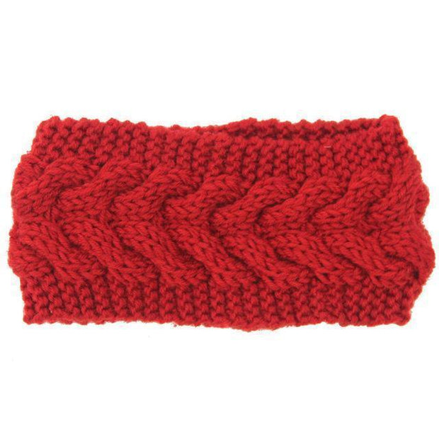 Knitted Ear Warmer Headwrap Red Clothes trendpicky