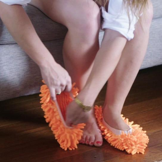 Lazy Mop Slippers Orange Lazy Slippers trendpicky
