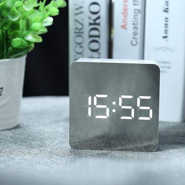LED Mirror Digital Alarm Clock Square led mirror clock trendpicky