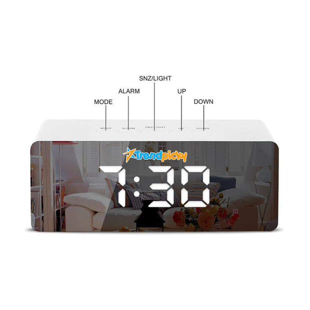 LED Mirror Digital Alarm Clock led mirror clock trendpicky